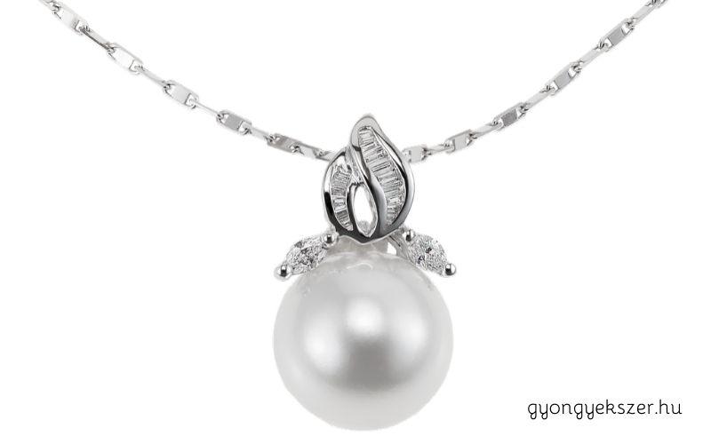 Fehér arany gyöngy medál