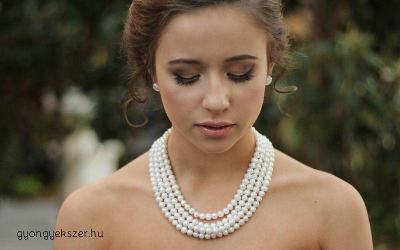 Többsoros gyöngy nyaklánc esküvőre